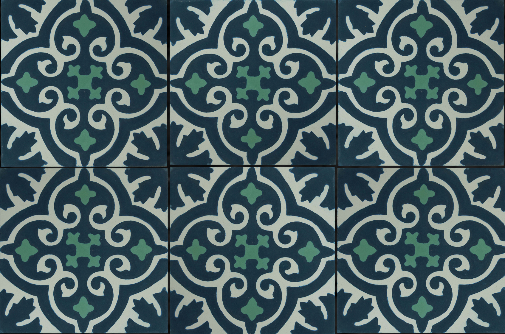 Carreaux de ciments dessins motifs colorisation sur mesure ic ne bleu vert collection - Carreaux de ciment bleu ...