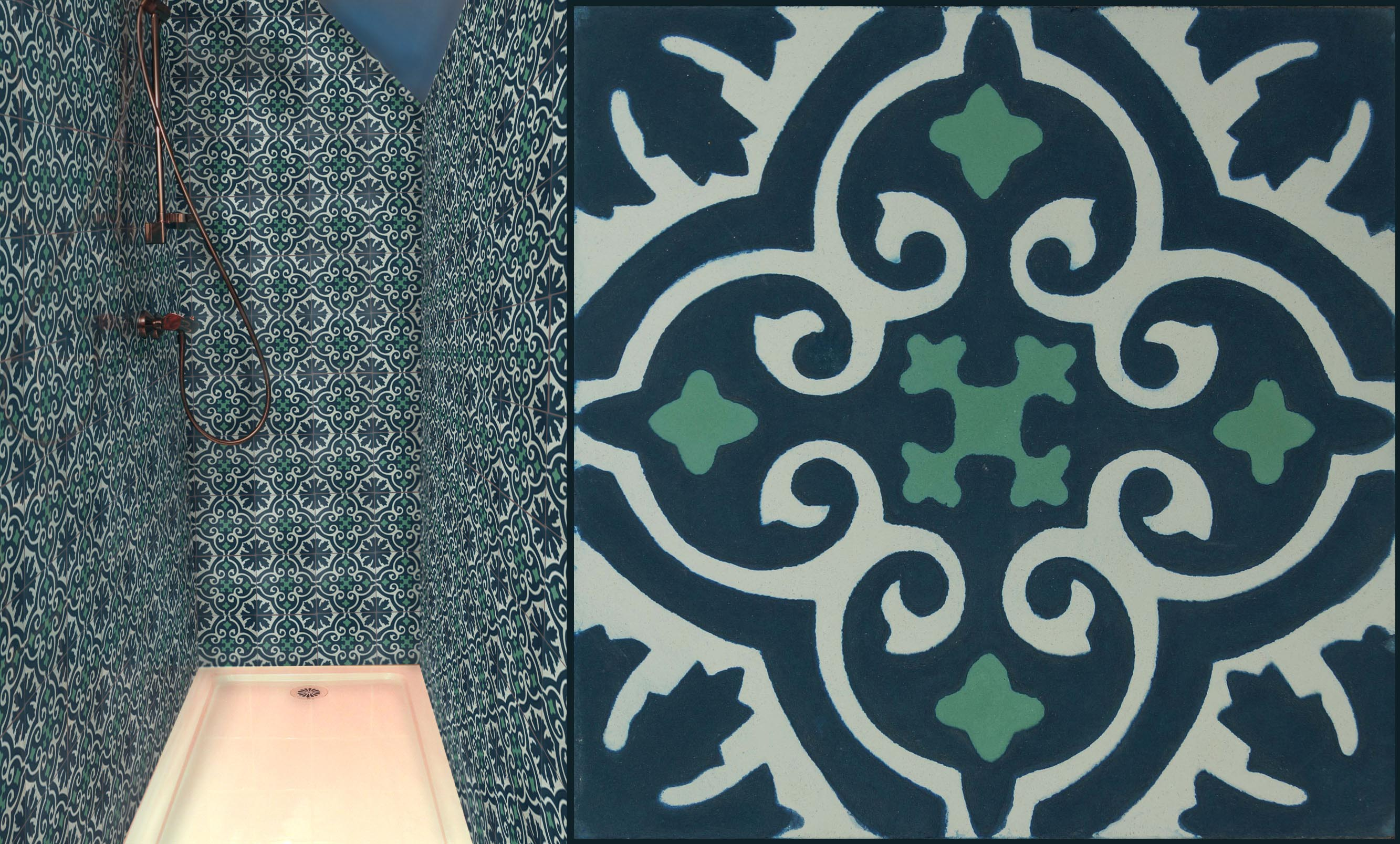 carreaux de ciments dessins motifs colorisation sur mesure ic ne bleu vert collection. Black Bedroom Furniture Sets. Home Design Ideas