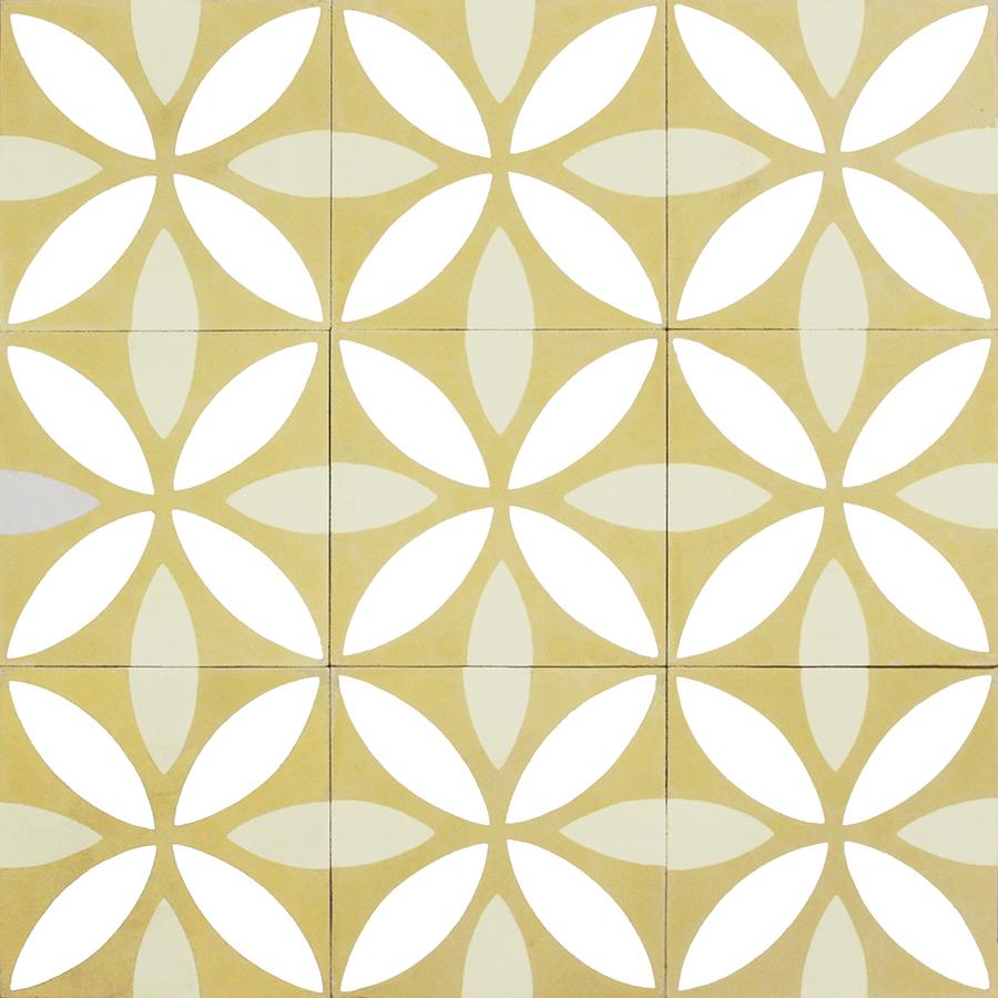carreaux de ciments dessins motifs colorisation sur mesure lotus jaune collection. Black Bedroom Furniture Sets. Home Design Ideas